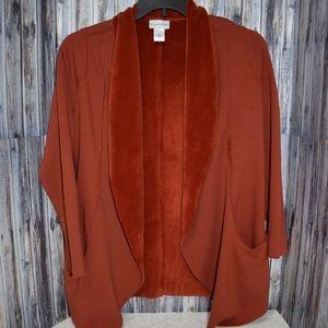 Soft Surroundings Burnt Orange Open Front Cardigan
